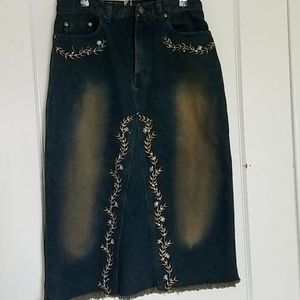 Embellished distressed midi denim skirt, size M/10